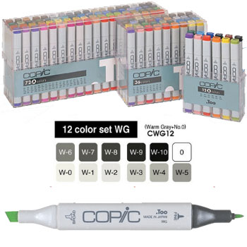CAJA 12 ROTULADORES GRISES CALIDOS 'COPIC MARKER'