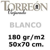 CARTULINA <b>'TORREON' 180gr. BLANCO</b> 50x70 cm.
